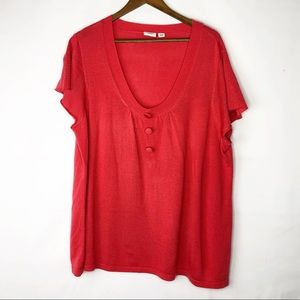 CATO Red Short Sleeve Sweater in Size 26W/28W